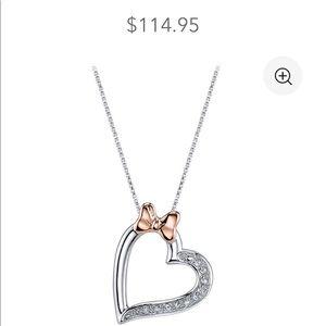Minnie Mouse Diamond Heart Necklace